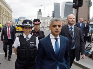 Mayor of London Sadiq Khan and Metropolitan Police Commissioner Cressida Dick visit the scene of a June attack on London Bridge and Borough Market which left seven people dead and dozens of injured in central London, Britain. Photo by Clodagh Kilcoyne/Reuters