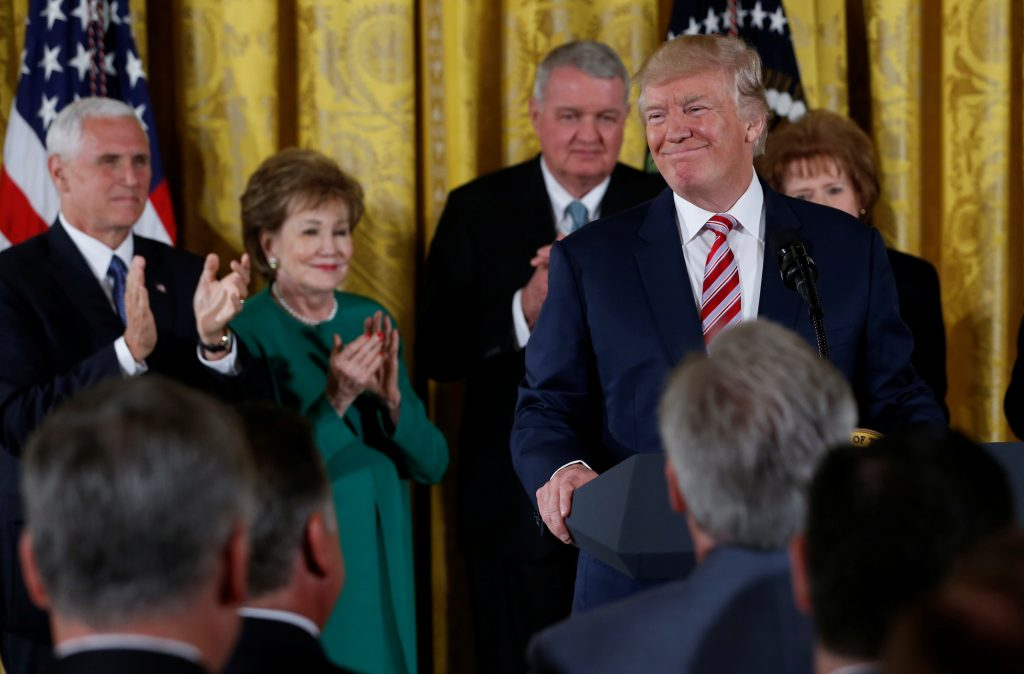 President Donald Trump announces his initiative on air traffic control in the United States from the East Room of the White House in Washington, D.C. Photo by Jonathan Ernst/Reuters