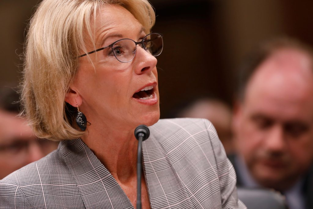 Education Secretary Betsy DeVos testifies before the Labor, Health and Human Services, Education, and Related Agencies subcommittee in Washington, D.C. in June. Photo by Aaron P. Bernstein/Reuters