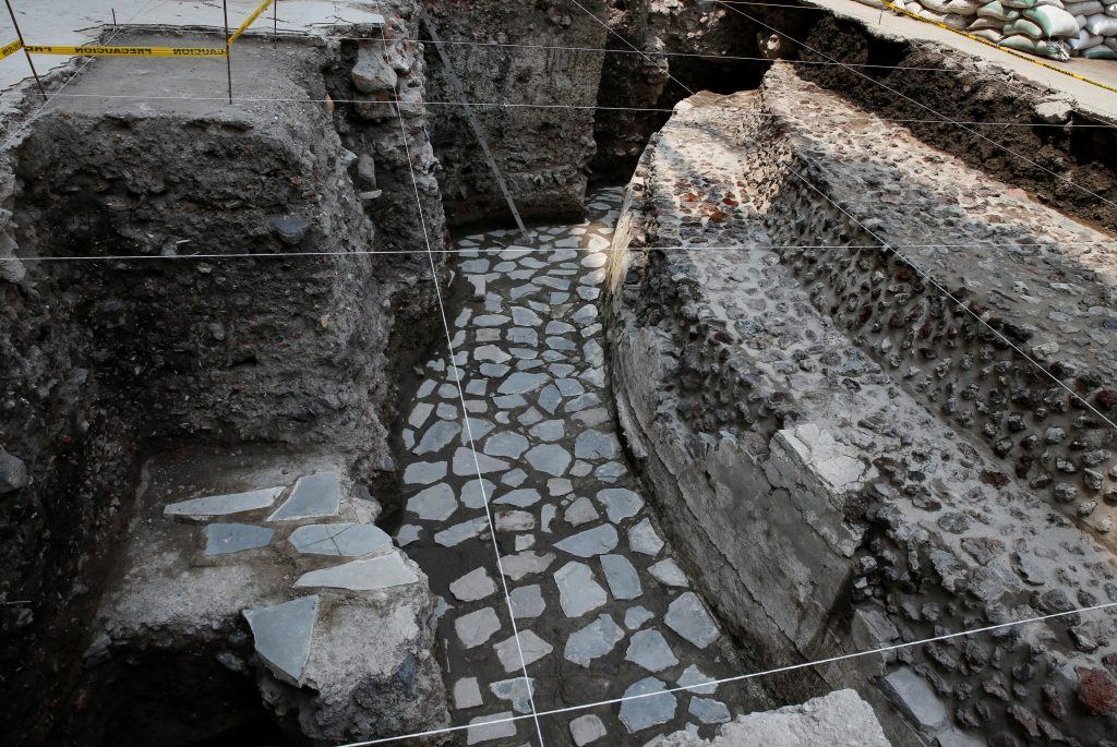 A new Aztec discovery of the remains of the main temple of the wind god Ehecatl, a major deity, is seen during a tour of the area, located just off the Zocalo plaza in the heart of downtown Mexico City, Mexico. Photo by Henry Romero/Reuters