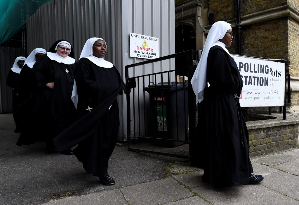Nuns were among the voters in Britain's early elections. Photo by Clodagh Kilcoyne/Reuters