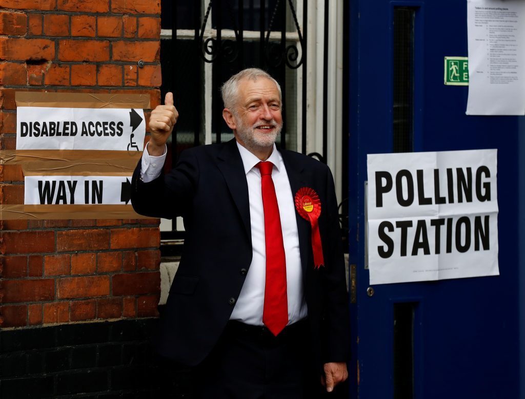 Jeremy Corbyn, leader of Britain's opposition Labor Party, votes in Islington, a borough in London, on June 8. Photo by Stefan Wermuth/Reuters