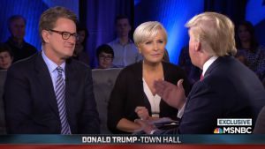 MSNBC hosts Joe Scarborough and Mika Brzezinski interview then-candidate Donald Trump during a TV town hall on Wednesday, Feb. 17, 2016. Screenshot by Dan Cooney.