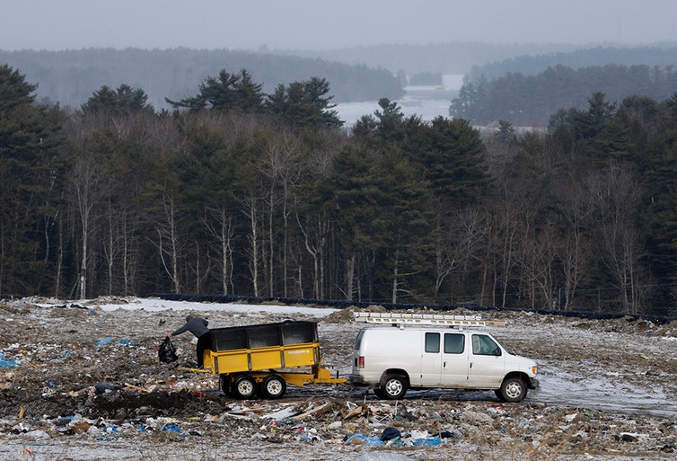 Discarded drugs have been found in water at this landfill in Bath, Maine, with the Kennebec River in the background. AP Photo/Robert F. Bukaty