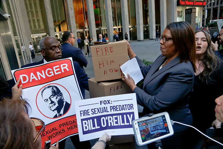 A protest-fueled backlash over sexual harassment allegations prompted advertisers to flee Bill O'Reilly's show and eventually his firing. AP Photo/Bebeto Matthews