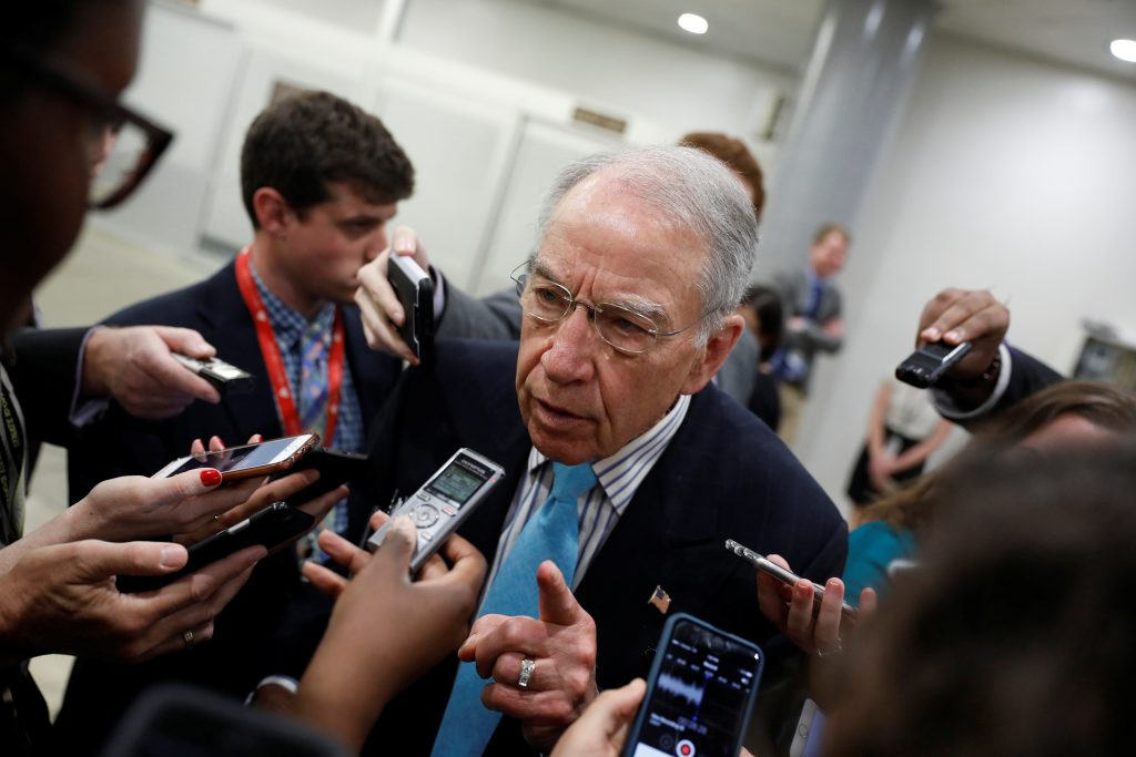 Sen. Chuck Grassley (R-IA) speaks to reporters about recent revelat…