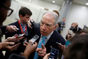 Sen. Chuck Grassley (R-IA) speaks to reporters about recent revelations of President Donald Trump sharing classified information with Russian Officials on Capitol Hill in Washington, D.C., U.S. May 16, 2017. REUTERS/Aaron P. Bernstein - RTX363NO