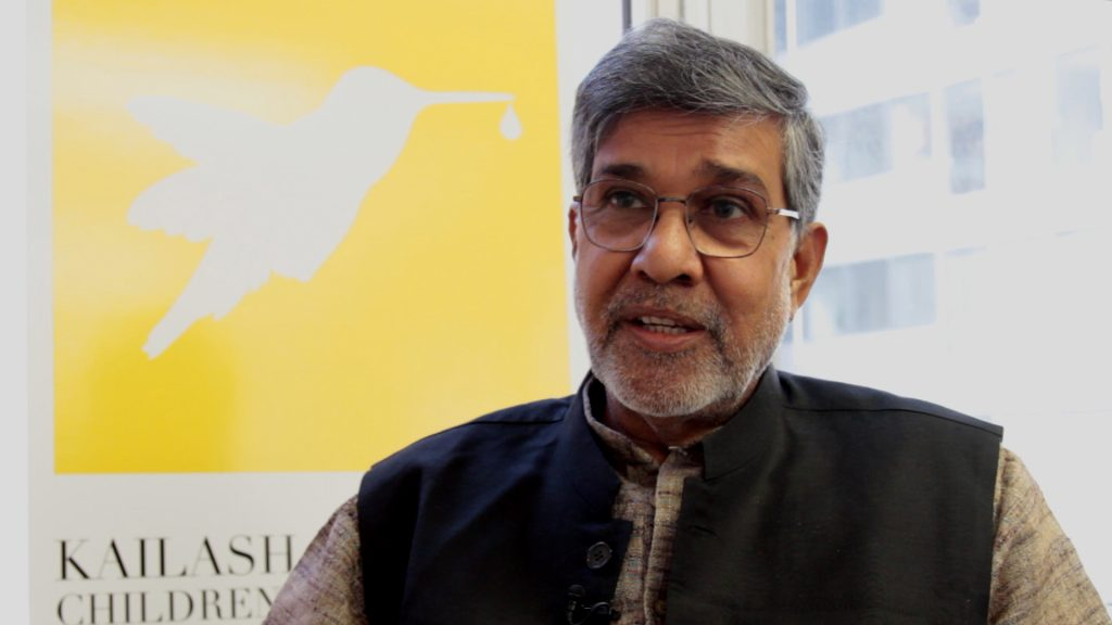 Screen image of children's rights activist Kailash Satyarthi by PBS NewsHour
