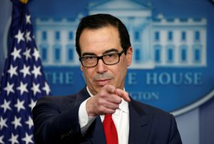 Treasury Secretary Steve Mnuchin announces measures taken to maximize pressure on North Korea to abandon its weapons programs during a press briefing at the White House in Washington, U.S., June 29, 2017.  REUTERS/Kevin Lamarque     TPX IMAGES OF THE DAY - RTS195ZV