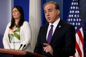 Secretary of Veterans Affairs David Shulkin speaks to reporters at a White House press briefing on June 5, 2017. Photo by Jonathan Ernst/Reuters