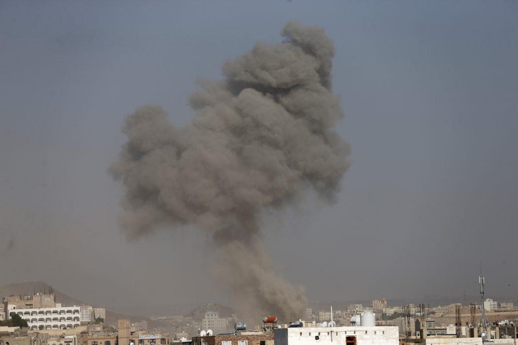 Dust rises from the site of a Saudi-led air strike in Yemen's capital Sanaa September 17, 2015. REUTERS/Khaled Abdullah - RTS1JSV