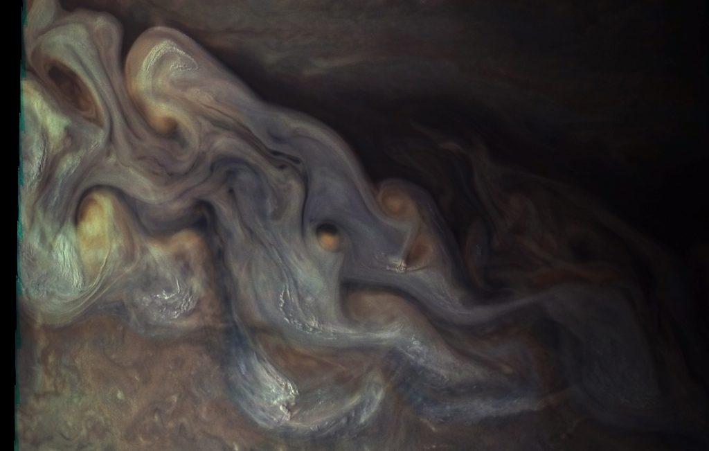 Enhanced-color image of Jupiter's clouds obtained by NASA's Juno spacecraft. Image by NASA/SWRI/MSSS/Gerald Eichstädt/Seán Doran
