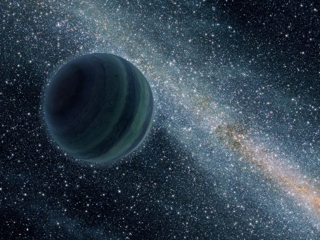 Artist's rendition of a Jupiter-sized rogue planet, floating freely through interstellar space without a parent star. Photo by NASA/JPL-Caltech