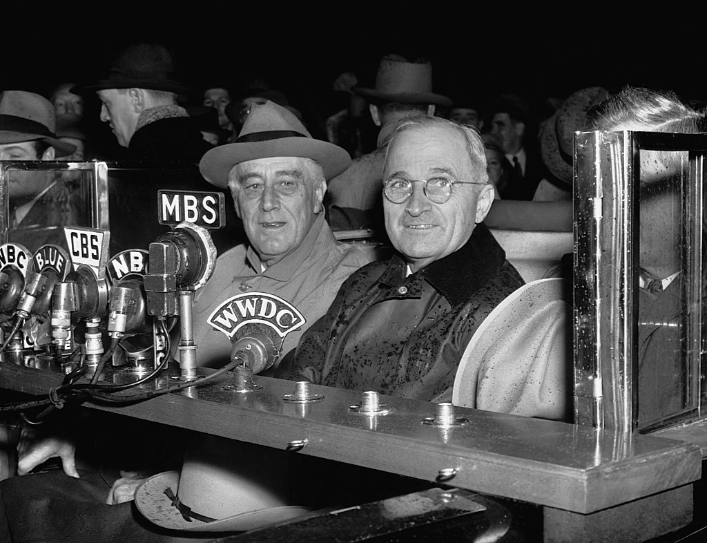 "Photo shows President Roosevelt as he made a short radio talk upon his arrival ""home"" in Washington. Photo shows left to right--President Roosevelt, Vice President-elect Harry S. Truman, and Vice President Henry A. Walleco."