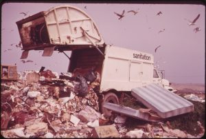 Landfill operation is conducted by the city of New York on the marshlands of Jamaica Bay. This photo is part of the Documerica Project (1971-1977), wherein EPA hired freelance photographers to capture images relating to environmental problems, EPA activities, and everyday life in the 1970s Photo by Arthur Tress