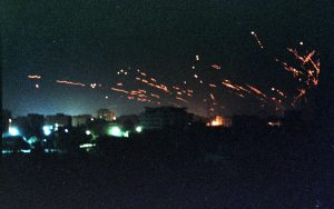 File photo of Iraqi anti-aircraft fire and tracer flares lighting up the sky above downtown Baghdad Jan. 17, 1991, as U.S. and allied bombing raids launched a Gulf War to liberate Kuwait. Photo by Patrick De Noirmont/Reuters
