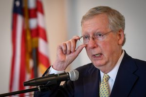 Senate Majority Leader McConnell speaks at a Harden County Republican party fundraiser in Elizabethtown