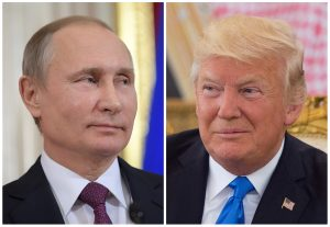FILE PHOTO: Russian President Vladimir Putin attends a news conference at the Kremlin in Moscow, Russia, on January 17, 2017 and U.S. President Donald Trump seen at a reception ceremony in Riyadh, Saudi Arabia, on May 20, 2017, as seen in this combination photo. Sputnik/Alexei Druzhinin/Kremlin via REUTERS and Bandar Algaloud/Courtesy of Saudi Royal Court/Handout/File photos via REUTERS ATTENTION EDITORS - THESE PICTURES WERE PROVIDED BY A THIRD PARTY - RTS19I9B