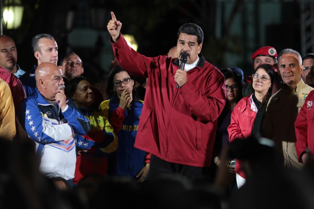 Venezuela's President Nicolas Maduro (C) speaks during a meeting with supporters in Caracas, Venezuela on July 30, 2017. Photo by Miraflores Palace via Reuters