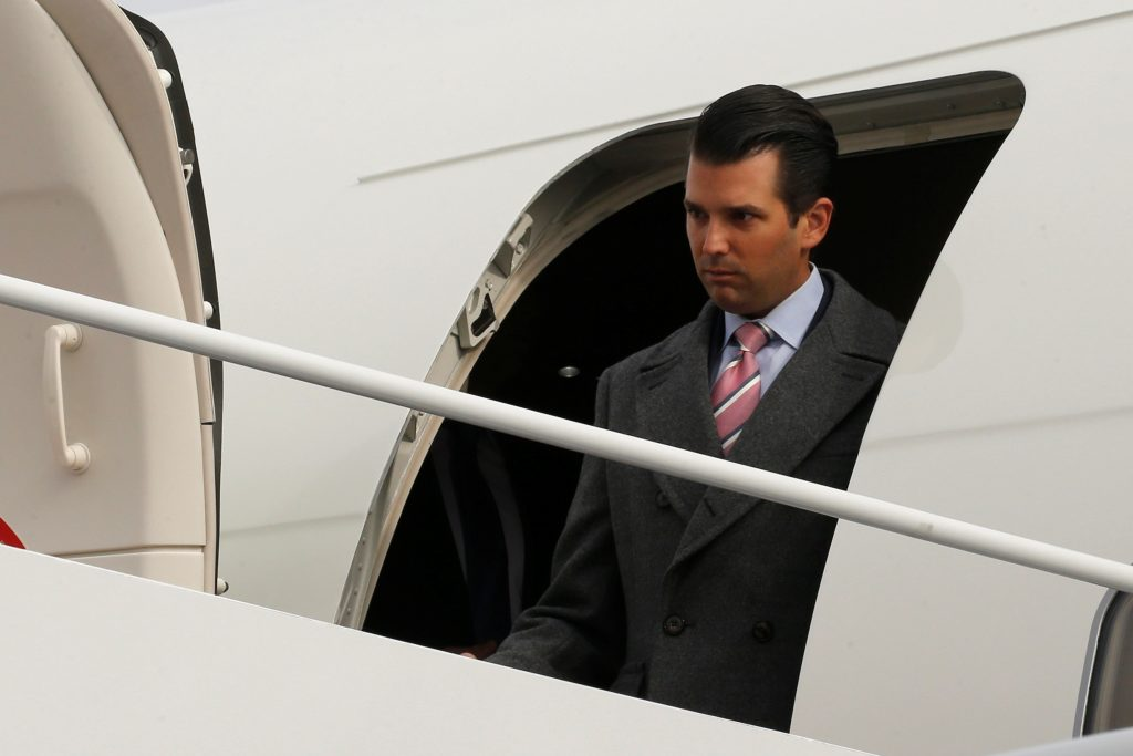 U.S. President-elect Donald Trump's son Donald Trump Jr. arrives ahead of the inauguration with his father aboard a U.S. Air Force jet at Joint Base Andrews, Maryland, U.S. January 19, 2017. REUTERS/Jonathan Ernst - RTSWBPR
