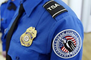 A Transportation Security Administration arm patch and shield is seen at Los Angeles International Airport