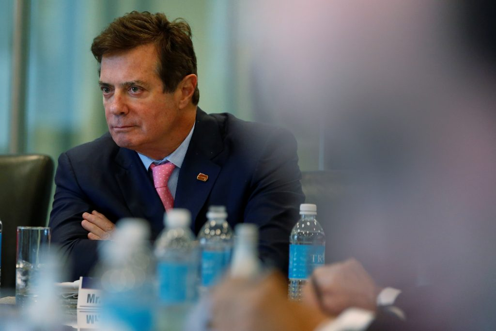 Paul Manafort of Republican presidential nominee Donald Trump's staff listens during a round table discussion on security at Trump Tower in the Manhattan borough of New York. Photo by Carlo Allegri/Reuters