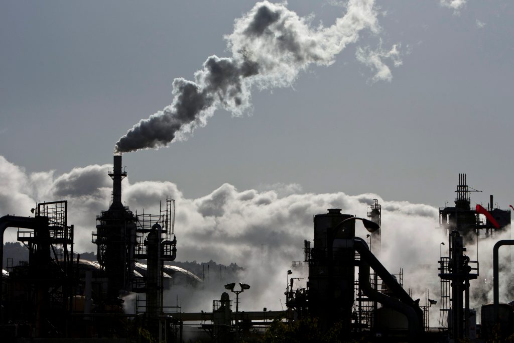 Smoke is released into the sky at a refinery in Wilmington, California, in 2012. Photo by Bret Hartman/Reuters