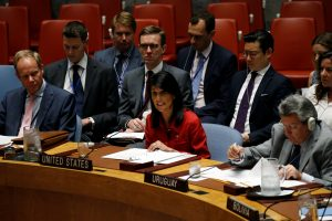 U.S. Ambassador to the United Nations Nikki Haley addresses the U.N. Security Council as it meets to discuss the recent ballistic missile launch by North Korea at U.N. headquarters in New York, U.S., July 5, 2017. REUTERS/Mike Segar TPX IMAGES OF THE DAY - RTX3A70D