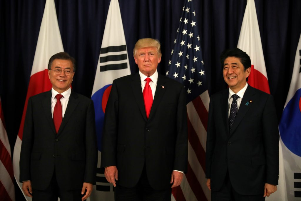 U.S. President Donald Trump meets South Korea's President Moon Jae-In and Japanese Prime Minister Shinzo Abe ahead the G20 leaders summit in Hamburg