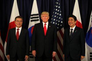 U.S. President Donald Trump meets South Korea's President Moon Jae-In and Japanese Prime Minister Shinzo Abe ahead the G20 leaders summit in Hamburg