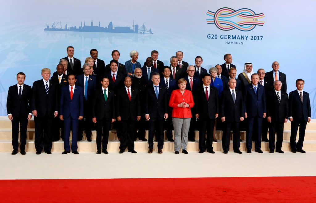 World leaders meet at the G20 summit in Hamburg, Germany on July 7. Photo by Axel Schmidt/Reuters