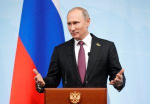 Russian President Vladimir Putin speaks during a news conference after the G20 summit in Hamburg, German. Photo by Alexander Zemlianichenko/Reuters
