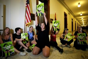 Healthcare activists protest to stop the Republican health care bill at Russell Senate Office Building on Capitol Hill in Washington, D.C. Photo by Yuri Gripas/Reuters