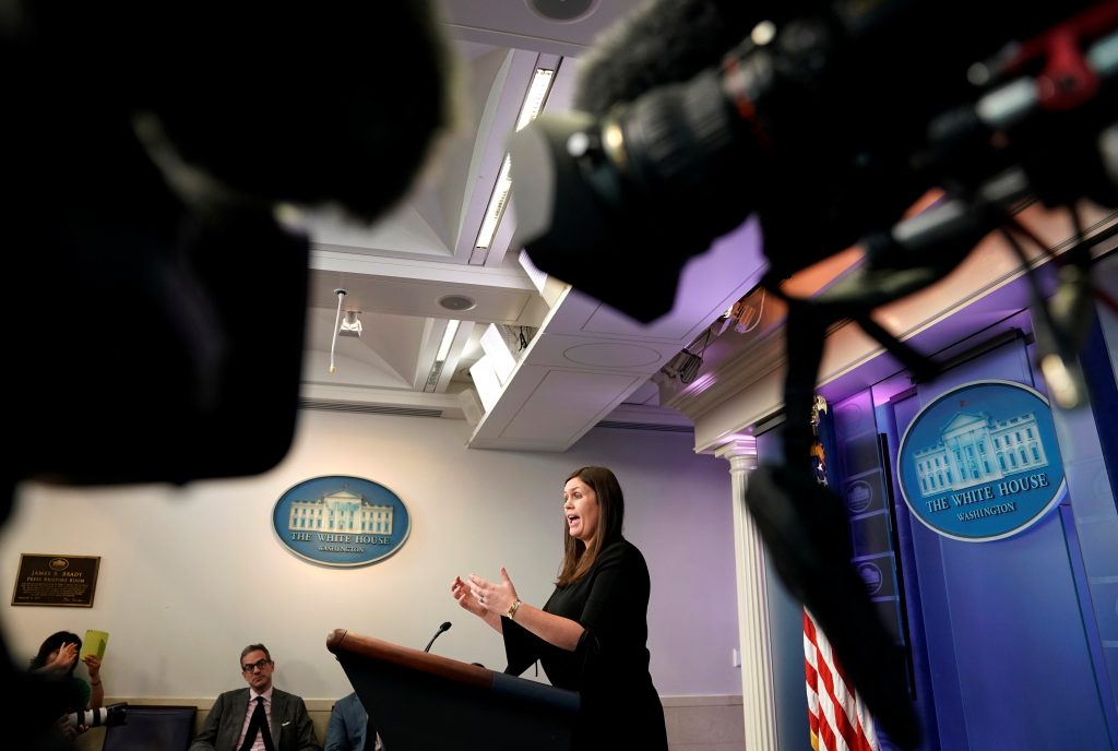 Deputy Press Secretary Sarah Huckabee Sanders speaks during an untelevised press briefing at the White House in Washington, D.C. Photo by Joshua Roberts/Reuters