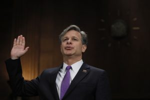 Christopher Wray is sworn in prior to testifying before a Senate Judiciary Committee confirmation hearing on his nomination to be the next FBI director on in Washington, D.C. Photo by Carlos Barria/Reuters