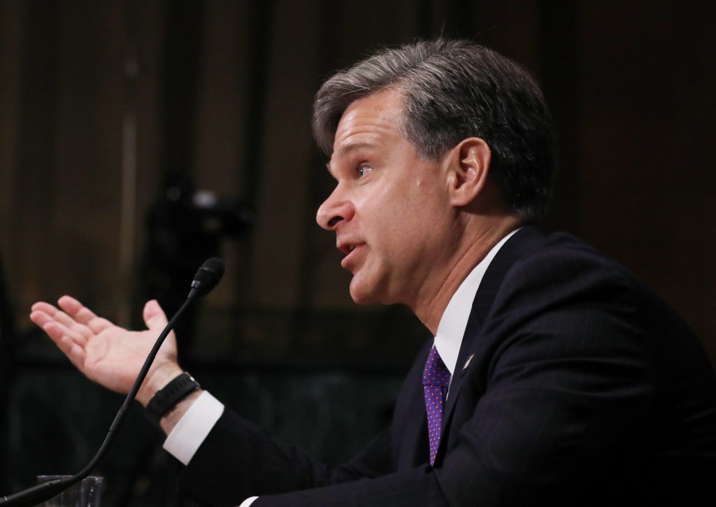 Christopher Wray testifies before a Senate Judiciary Committee confirmation hearing on his nomination to be the next FBI director on Capitol Hill in Washington, D.C. Photo by Carlos Barria/Reuters