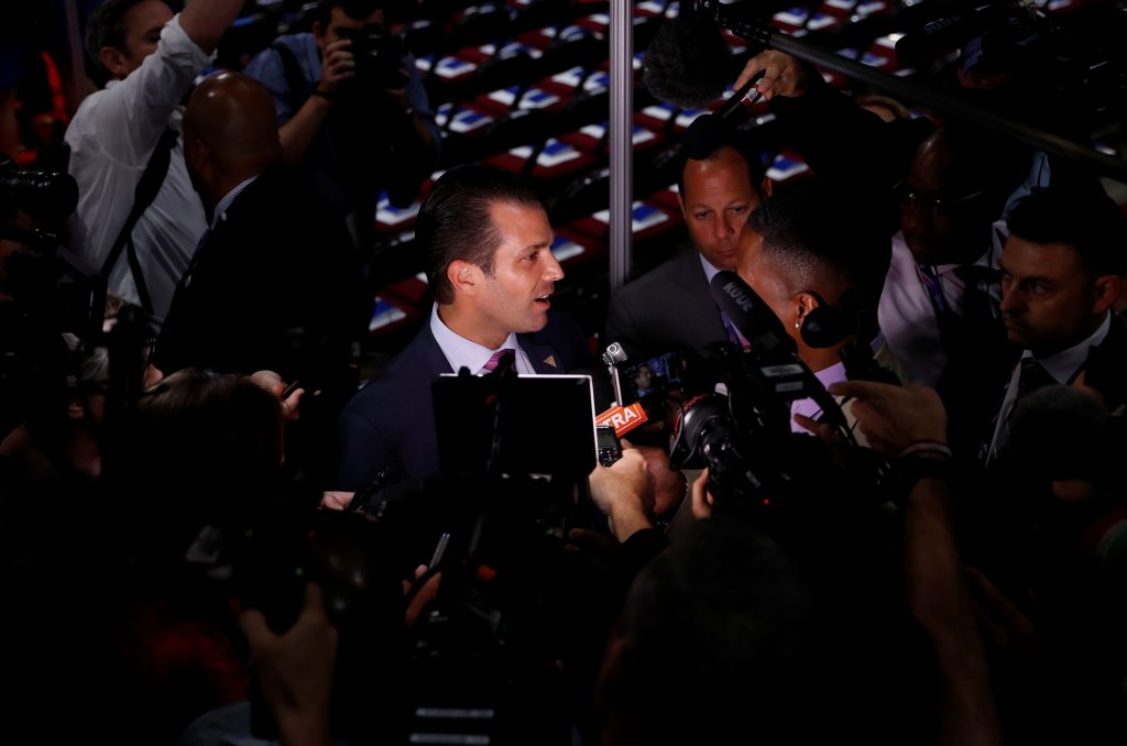 Donald Trump Jr. gives a television interview at the 2016 Republican National Convention in Cleveland, Ohio. Photo by Mark Kauzlarich/Reuters