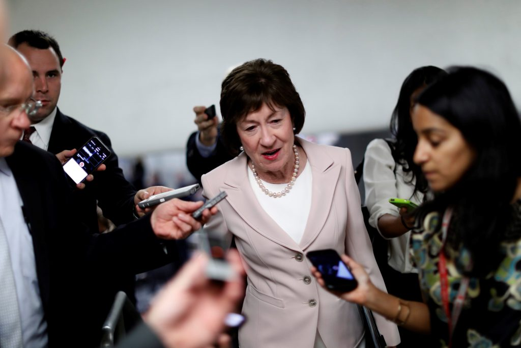 Senator Susan Collins (R-ME) speaks with reporters about the withdrawn Republican health care bill on Capitol Hill in Washington, U.S., July 18, 2017. REUTERS/Aaron P. Bernstein - RTX3BYO7