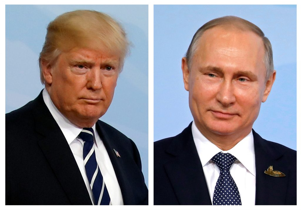 A combination of two photos shows U.S. President Donald Trump and Russian President Vladimir Putin as they arrive for the G20 leaders summit in Hamburg, Germany. Photo by Carlos Barria/Reuters