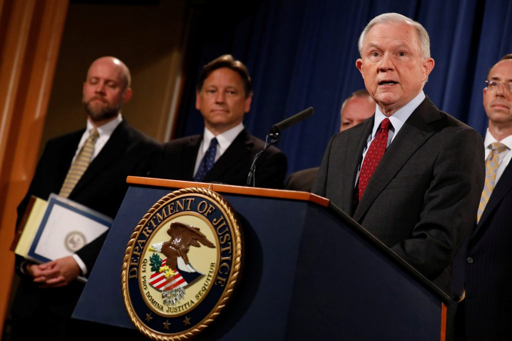 Attorney General Jeff Sessions speaks during a news conference announcing the takedown of the dark web marketplace AlphaBay, at the Justice Department in Washington, D.C. Photo by Aaron P. Bernstein/Reuters