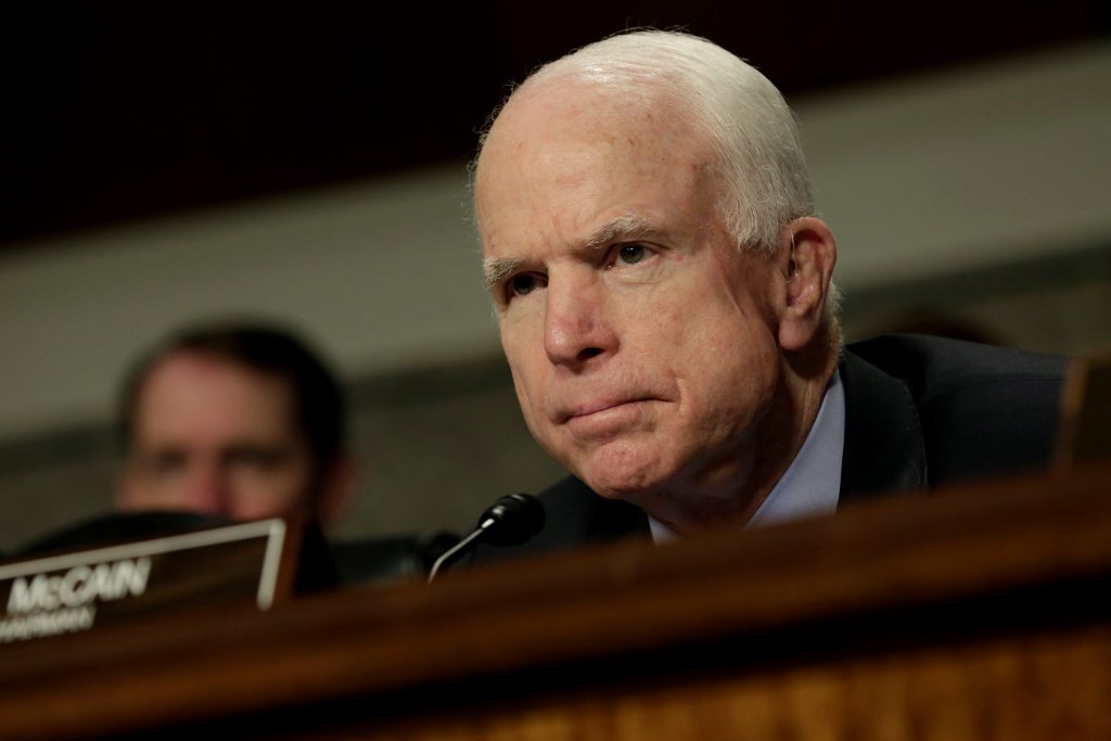 Sen. John McCain (R-Ariz.) attends the Senate Armed Services Committee hearing on worldwide threats in Washington, D.C. Photo by Yuri Gripas/Reuters