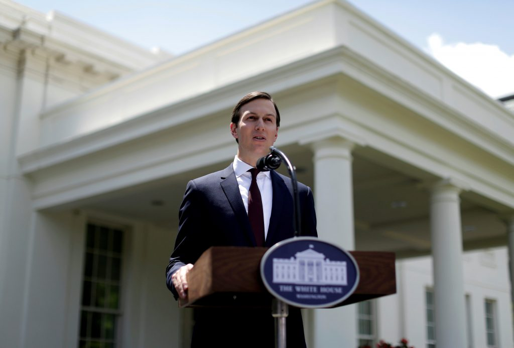 Senior Adviser to the President Jared Kushner speaks outside the West Wing of the White House in Washington, U.S., July 24, 2017. REUTERS/Joshua Roberts TPX IMAGES OF THE DAY - RTX3CQST