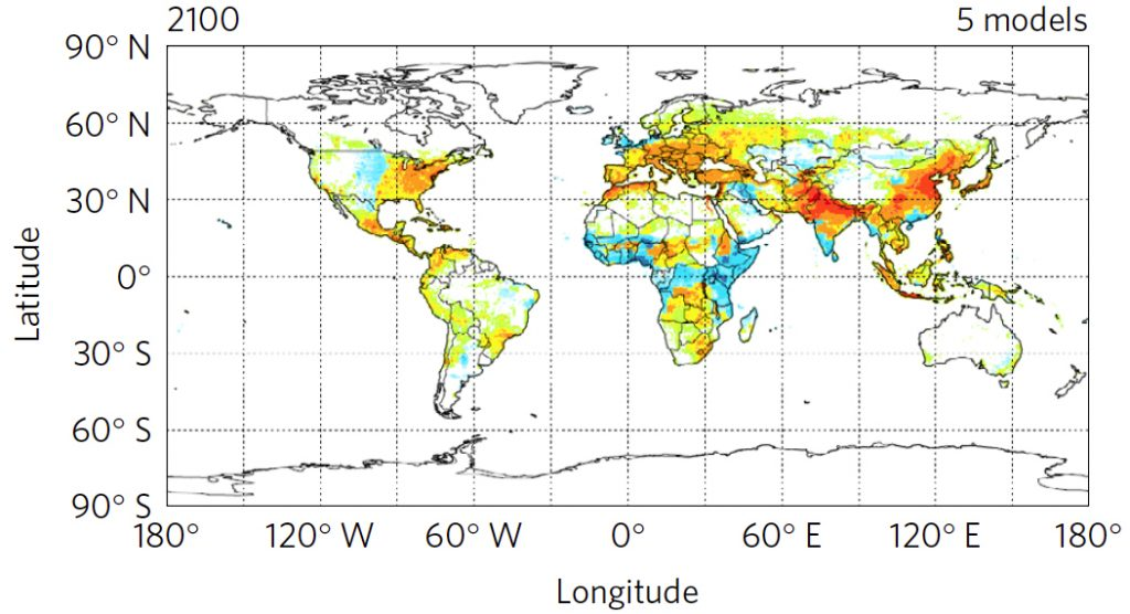 Estimates for mortality due to fine particulate matter in 2100. Photo by Silva RA et al., Nature Climate Change, 2017