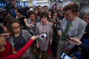 UNITED STATES - JULY 25: Sen. Susan Collins, R-Maine, talks with reporters in the senate subway before the Senate Policy luncheons in the Capitol on July 25, 2017. (Photo By Tom Williams/CQ Roll Call)