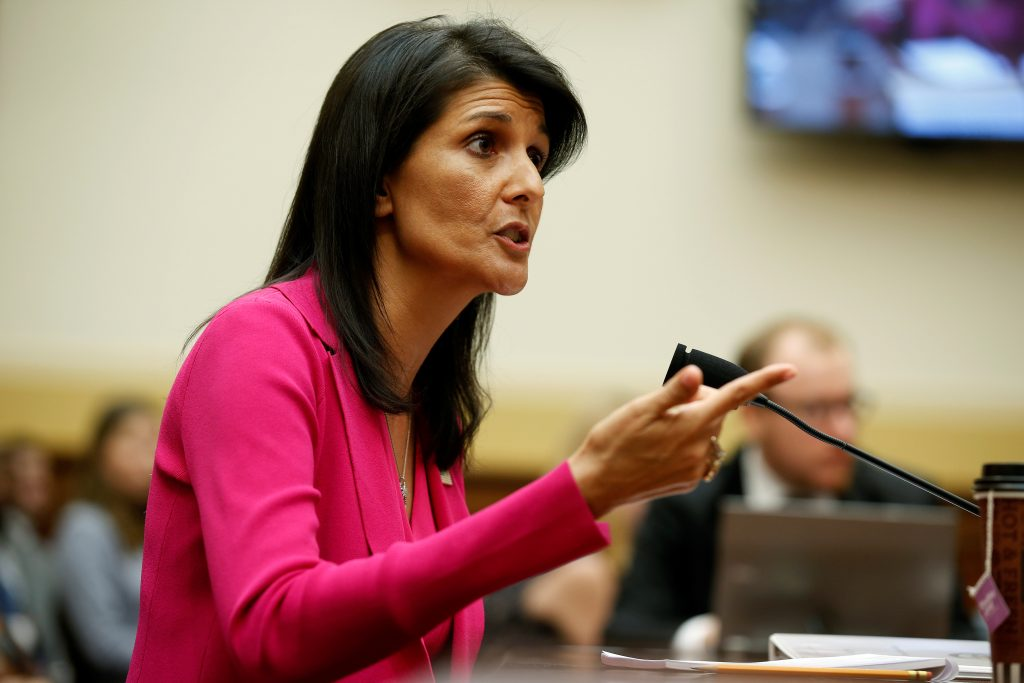 "U.S. Ambassador to the United Nations Nikki Haley testifies to the House Foreign Affairs Committee on ""Advancing U.S. Interests at the United Nations"" in Washington, U.S., June 28, 2017. REUTERS/Joshua Roberts - RTS18ZKK"