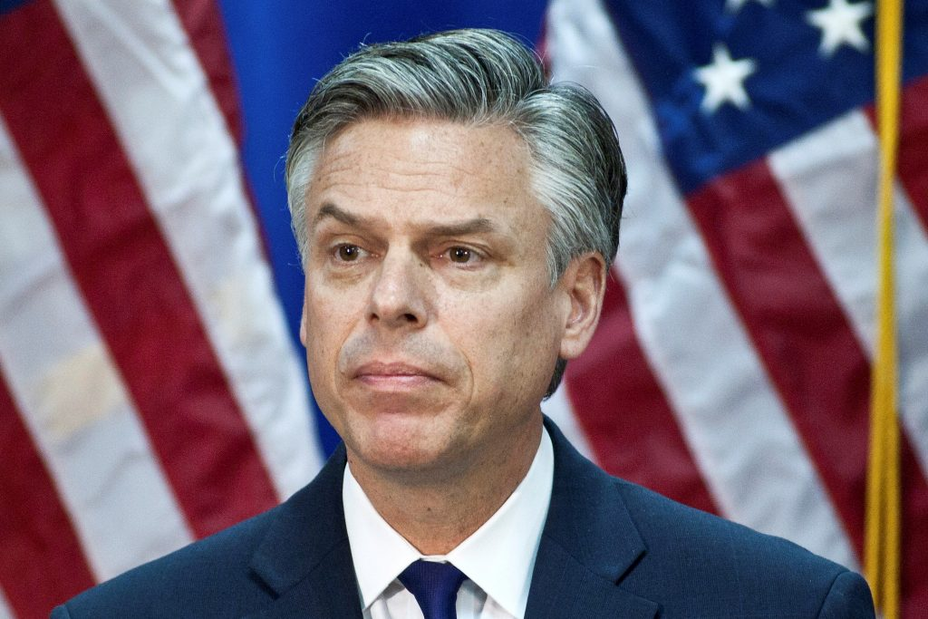 FILE PHOTO: Republican presidential candidate and former Utah Governor Jon Huntsman speaks at the Myrtle Beach Convention Center in Myrtle Beach, South Carolina, U.S., January 16, 2012. REUTERS/Chris Keane/File Photo TPX IMAGES OF THE DAY - RTX3BZJ8