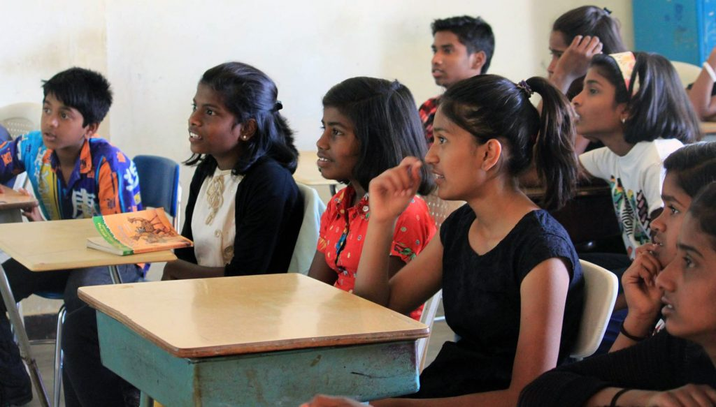 The students at Shanti Bhavan in southern India take regular classes along with life skills training. Photo courtesy of Shanti Bhavan