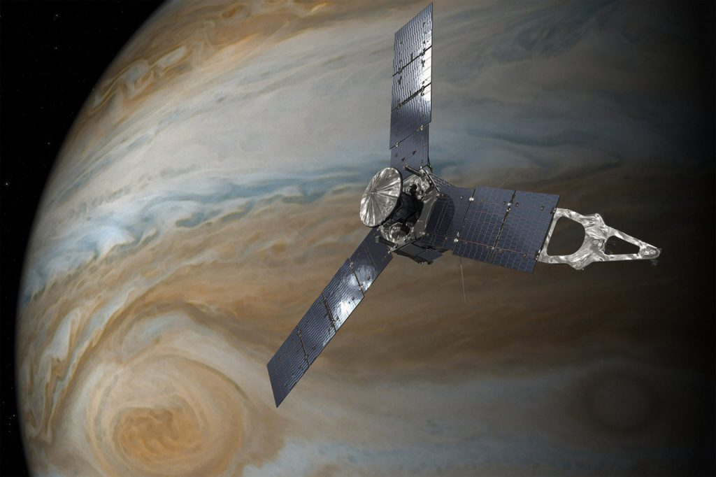Artist's concept of the Juno spacecraft orbiting Jupiter. Image by NASA/JPL-Caltech