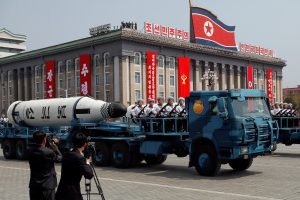 A North Korean navy truck carries the 'Pukkuksong' submarine-launched ballistic missile (SLBM) during a military parade marking the 105th birth anniversary of country's founding father, Kim Il Sung in Pyongyang, April 15, 2017.   REUTERS/Damir Sagolj/File Photo - RTX3CBOX