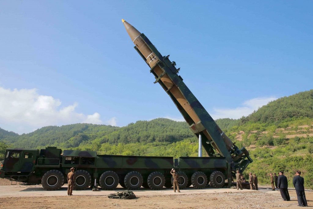 The intercontinental ballistic missile Hwasong-14 is seen in this undated photo released by North Korea's Korean Central News Agency (KCNA) in Pyongyang, July, 4 2017. KCNA/via REUTERS ATTENTION EDITORS - THIS IMAGE WAS PROVIDED BY A THIRD PARTY. REUTERS IS UNABLE TO INDEPENDENTLY VERIFY THIS IMAGE. NO THIRD PARTY SALES. SOUTH KOREA OUT. - RTX39YI2